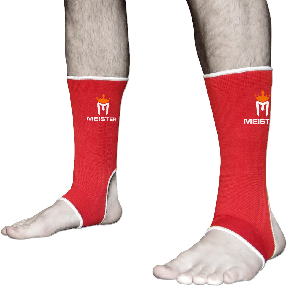 Muay Thai MMA Ankle Support Wraps (Pair) - Adult Red