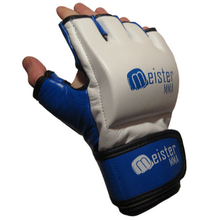 Pro 7 Ounce MMA Gloves White w/ Blue
