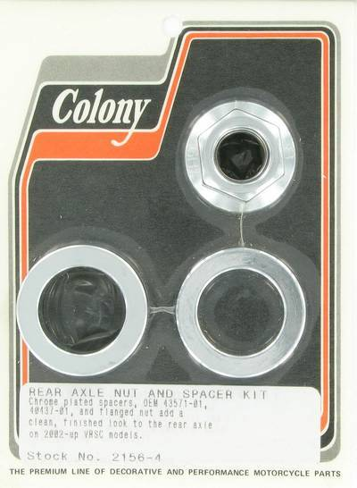 Rear axle nut and spacer kit | Color: chrome | Order Number: C2156-4 | OEM Number: 43571-01 / 40437-01