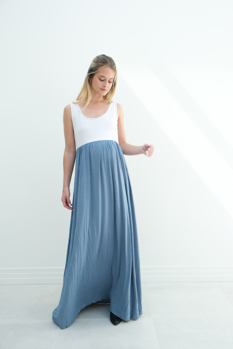 Annabelle | Maternity Maxi Tank Dress With Empire Waist  In Denim Blue