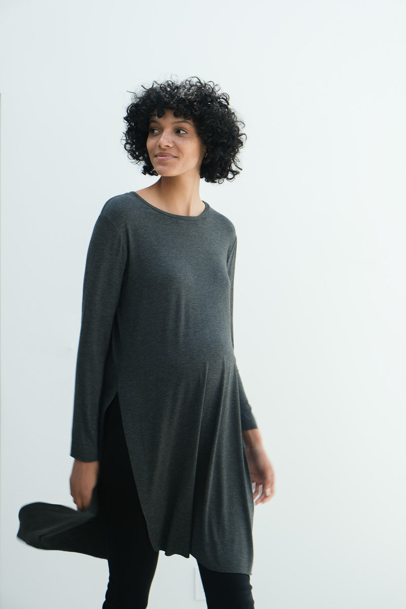 Camila | Maternity Long Sleeve Fitted Dress With Side Slit In Charcoal