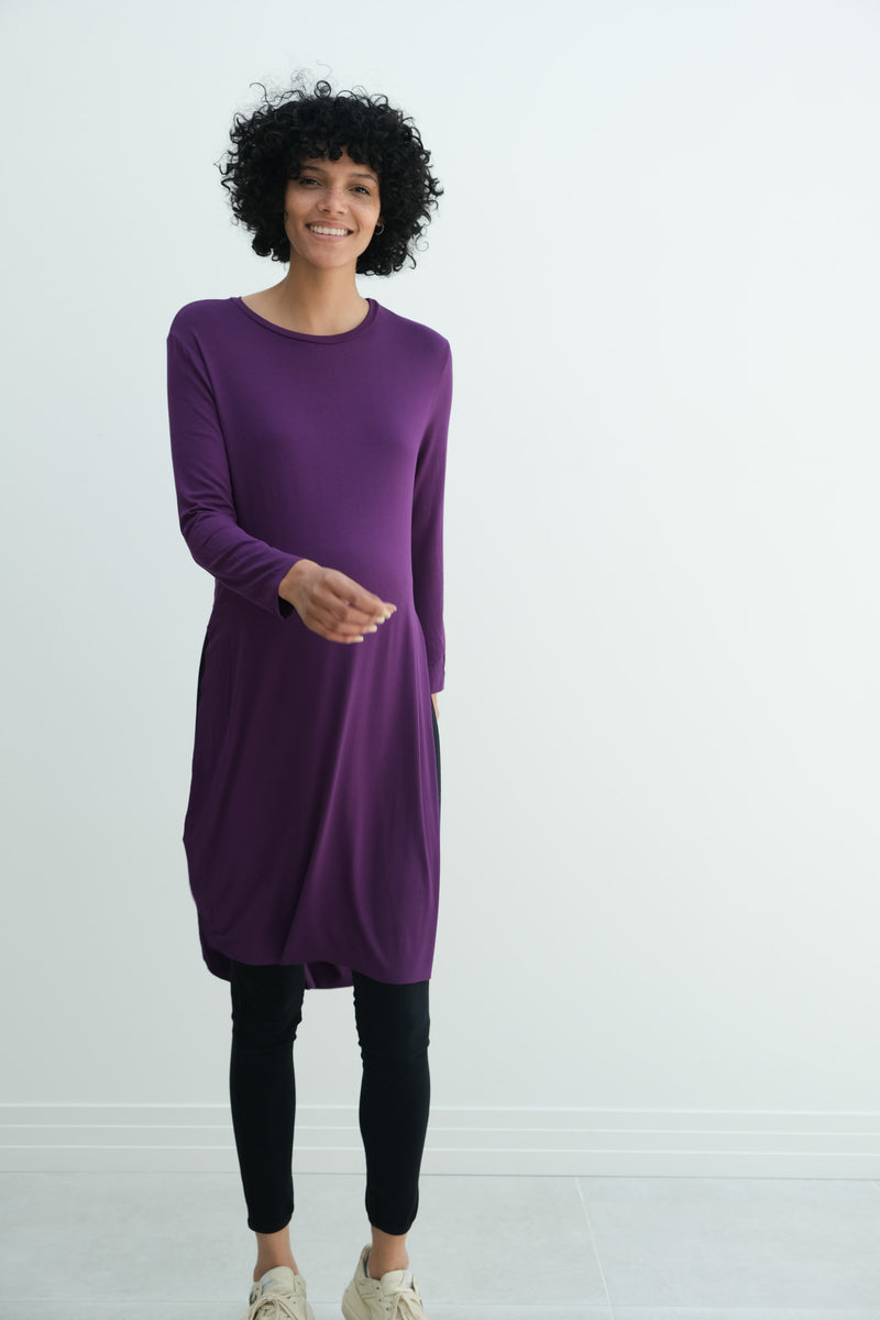 Camila | Maternity Long Sleeve Fitted Dress With Side Slit In Eggplant