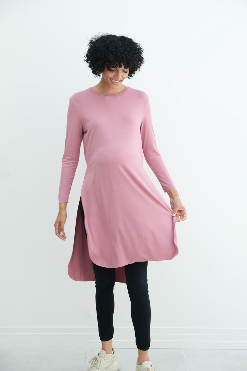 Camila | Maternity Long Sleeve Fitted Dress With Side Slit In Magenta