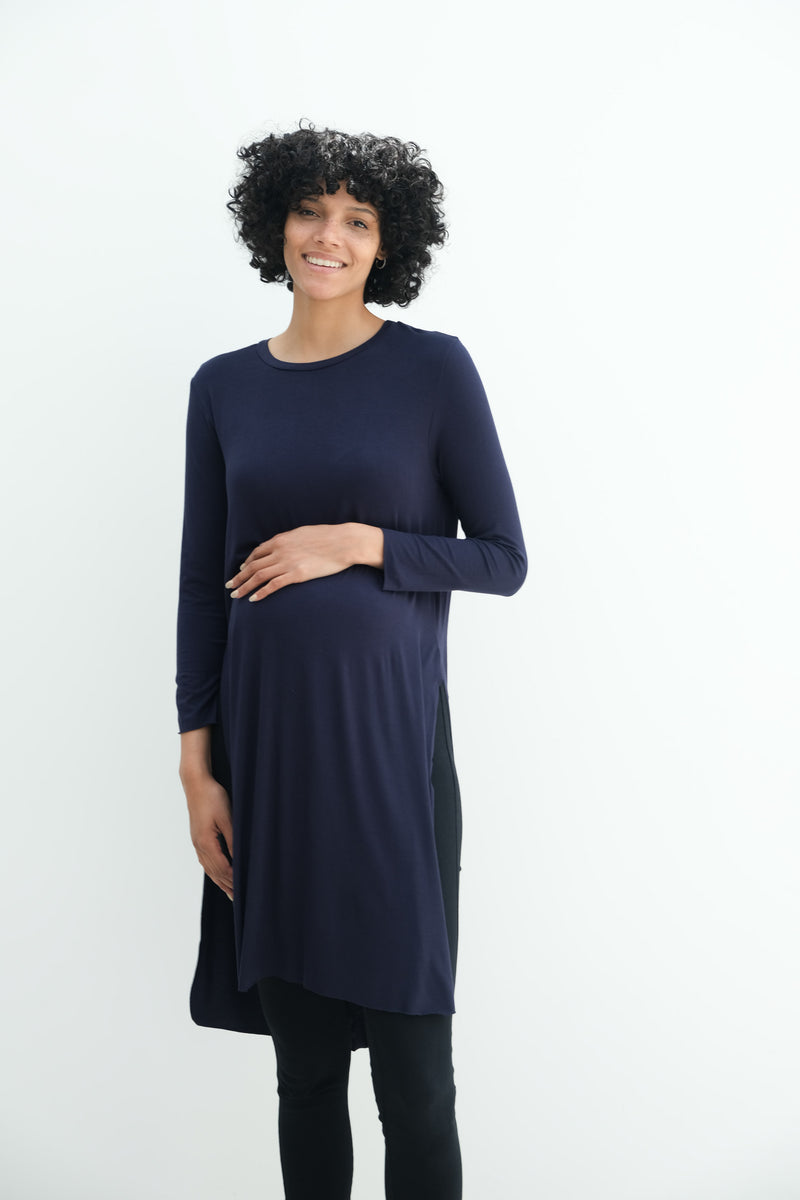 Camila | Maternity Long Sleeve Fitted Dress With Side Slit In Navy