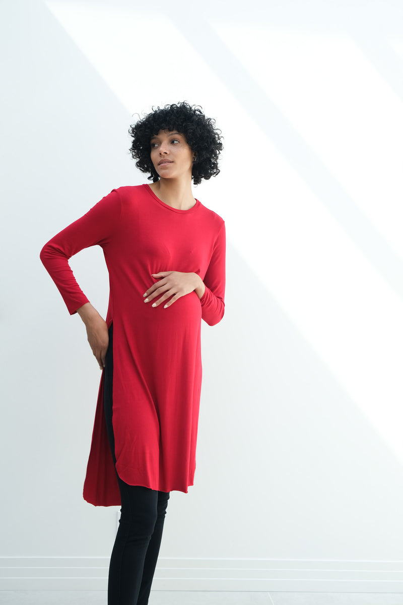 Camila | Maternity Long Sleeve Fitted Dress With Side Slit In Red