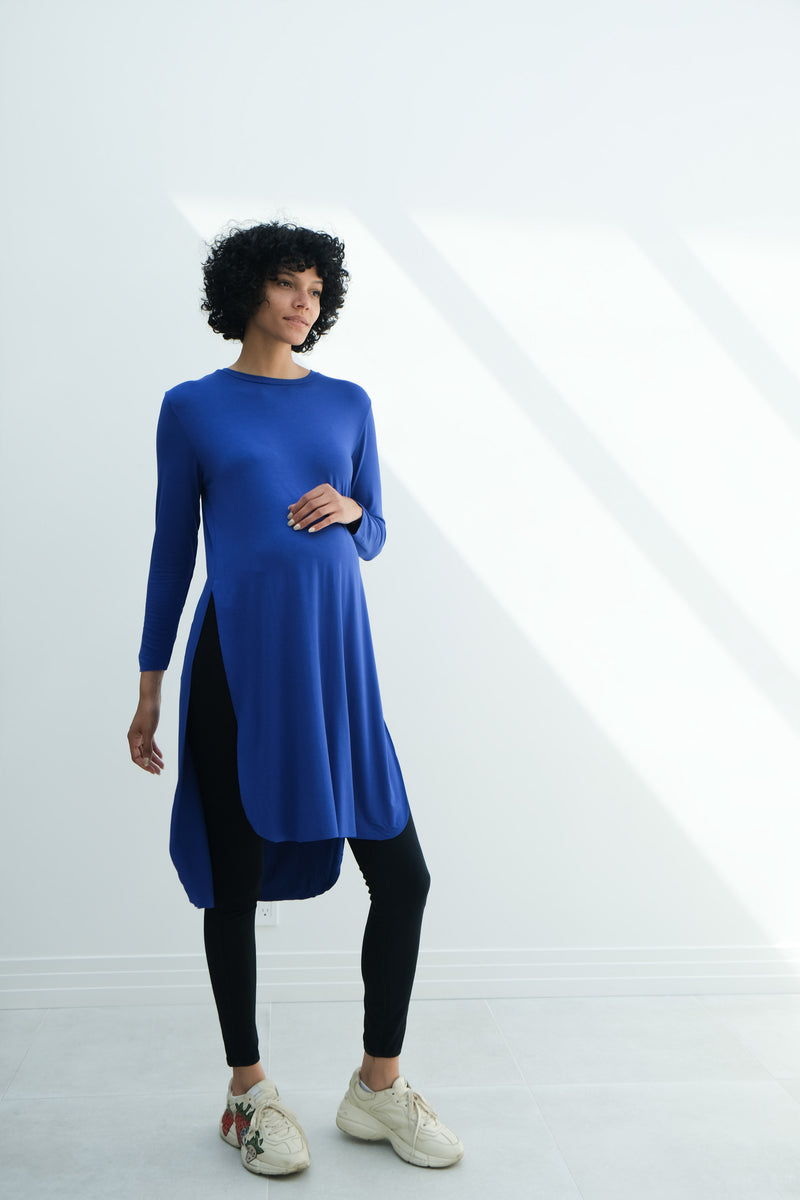Camila | Maternity Long Sleeve Fitted Dress With Side Slit In Royal