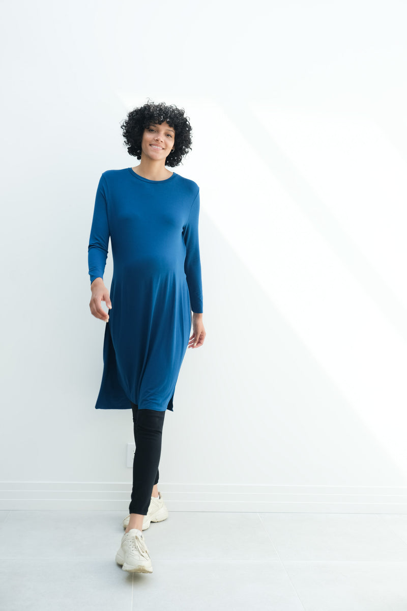 Camila | Maternity Long Sleeve Fitted Dress With Side Slit In Teal