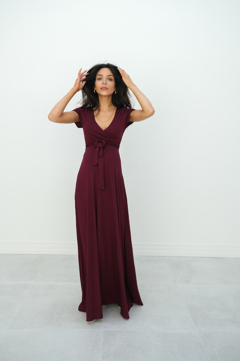 Gianna | Maternity Maxi Empire Tie Waist Dress With V-Neck In Wine