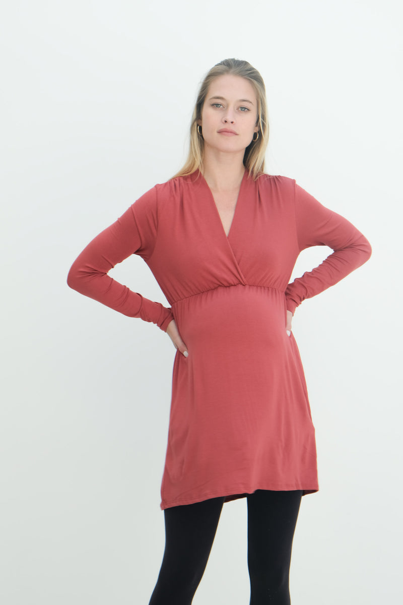 Eleanor | Maternity Long Sleeve Mini Wrap Dress with V-Neck In Terracota