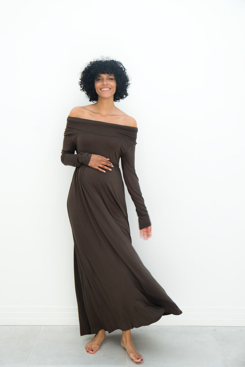 Delaney | Maternity Maxi Strapless Dress with Long Sleeves In Khaki