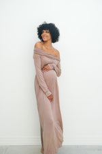Delaney | Maternity Maxi Strapless Dress with Long Sleeves In Mauve