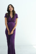 Catalina | Maternity Midi Flowy Wrap Dress with Tie Waist In Eggplant