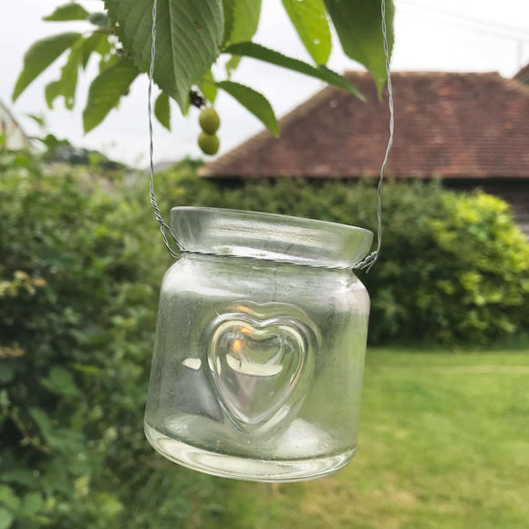 Glass heart hanging tealight holders - Dales Country Interiors