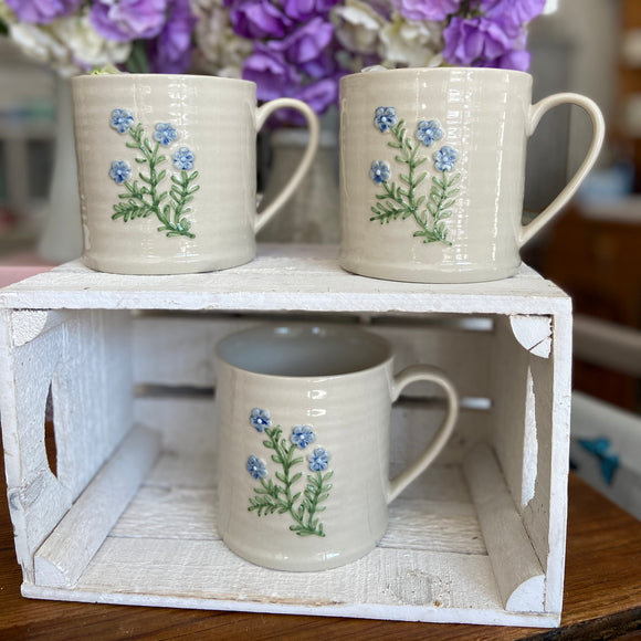 Embossed Forget Me Not Large Mug