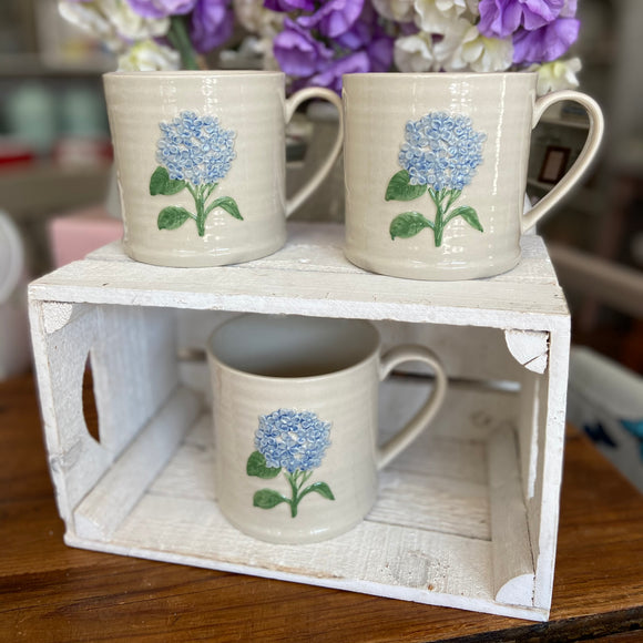 Embossed Blue Hydrangea Large Mug