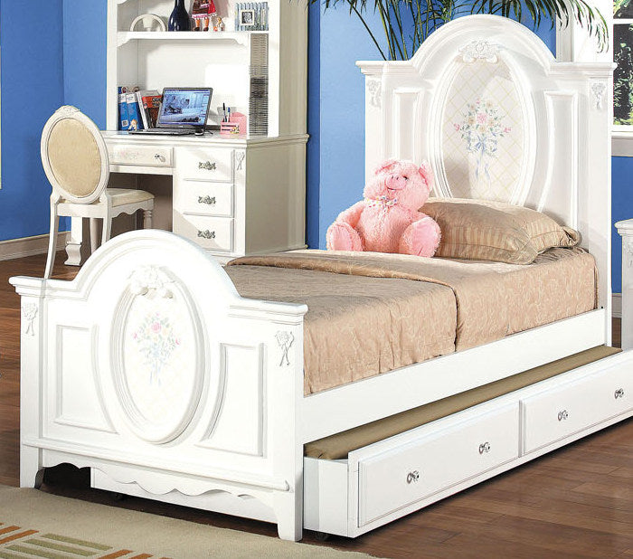 Acme Flora Twin Panel Bed in White 01680T image