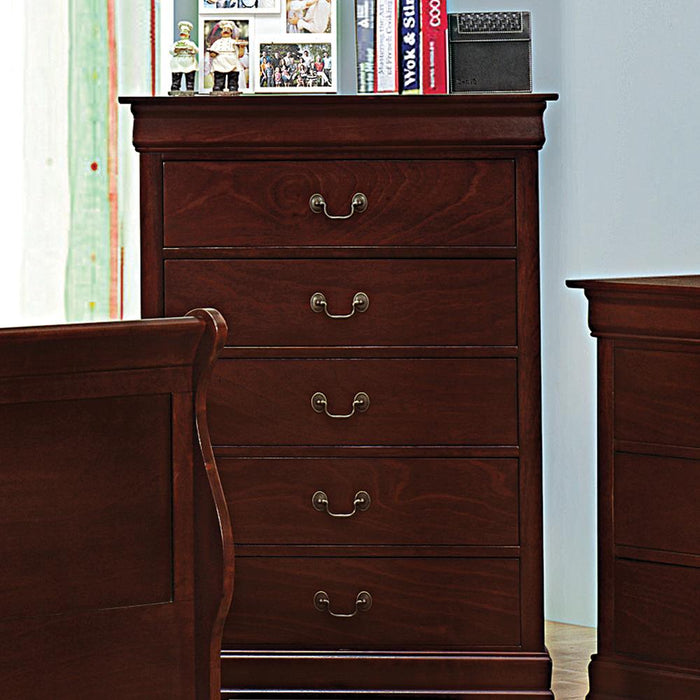 Louis Philippe Red Brown Five-Drawer Chest image
