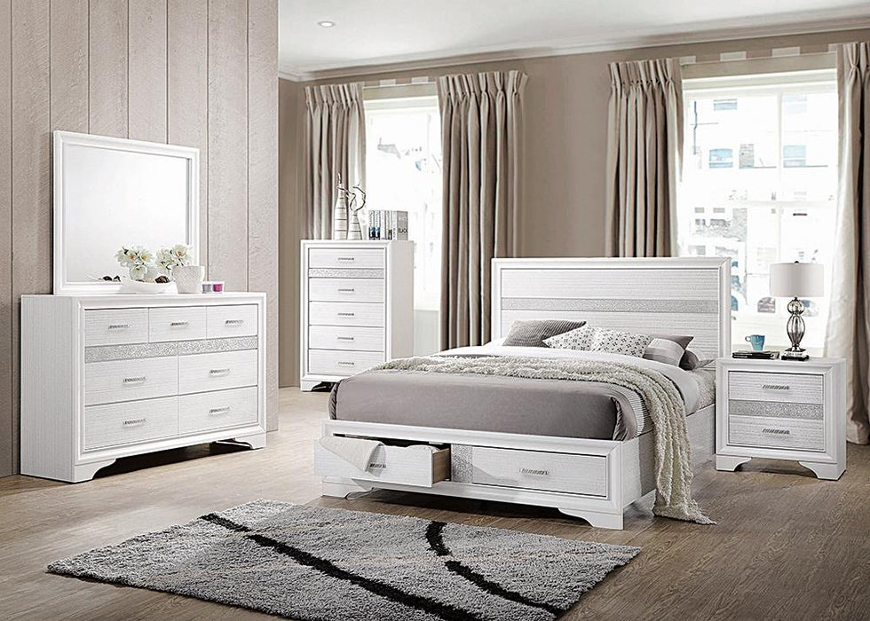 Miranda Contemporary White California King Storage Bed image