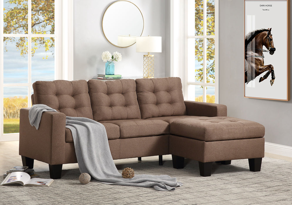 Earsom Brown Linen Sectional Sofa (Rev. Chaise) image