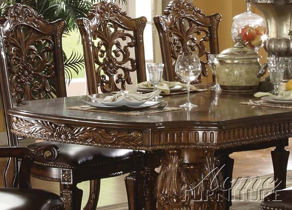 Acme Vendome Double Pedestal Dining Table in Cherry image