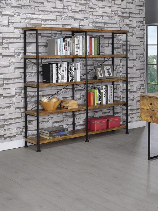 Barritt Industrial Antique Nutmeg Double-Wide Bookcase image