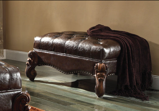 Versailles 2-Tone Dark Brown PU & Cherry Oak Ottoman image