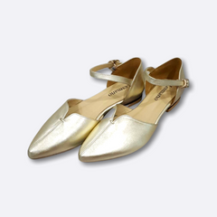 Le Cuore Womens Flats - Fion Ankle Straps - Gold