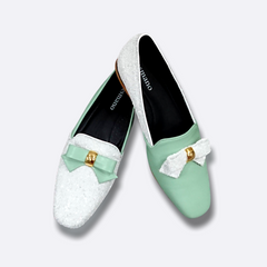 Le Cuore Womens Flats - Freya Loafers - Green and White
