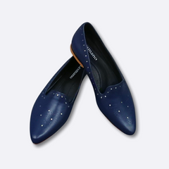 Le Cuore Womens Flats - Freya Loafers - Navy Blue