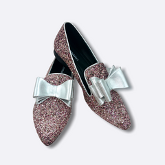 Le Cuore Womens Flats - Freya Loafers - Rose Glitter