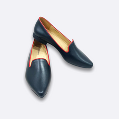 Le Cuore Womens Flats - Freya Loafers - Navy Blue with Red Trimmings