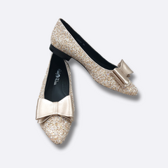 le cuore shoes - womens flat - gold glitter