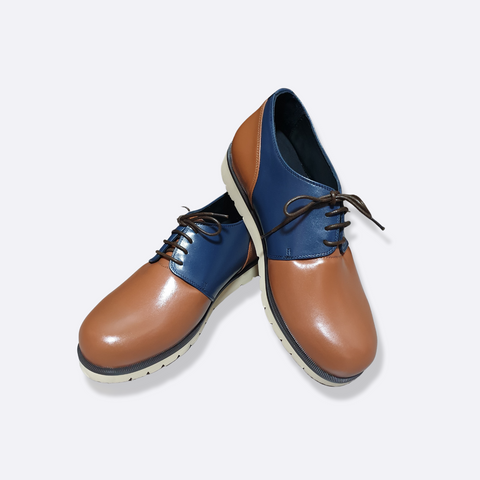 malcolm smart casual - blue brown - lecuore mens shoes