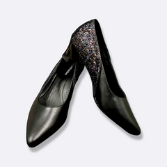 le cuore womens heels - hazel contrast tone - black and sparkly