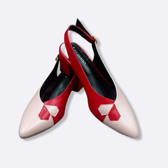 le cuore womens heels - hilda sling back - red and pink