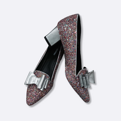 lecuore women heels - heather loafers - pink sparkle