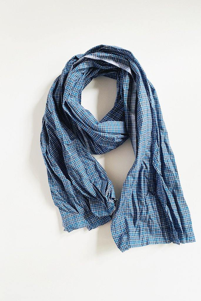 Amand Scarf Blue Plaid by Fog Linen Work - A. CHENG