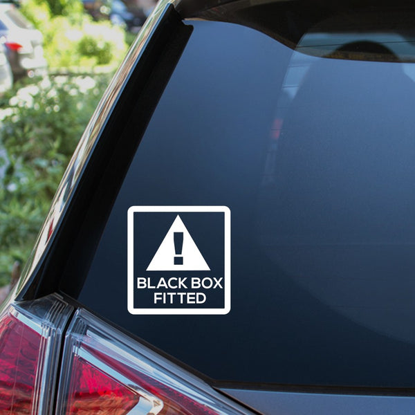 Black box fitted warning car window sticker
