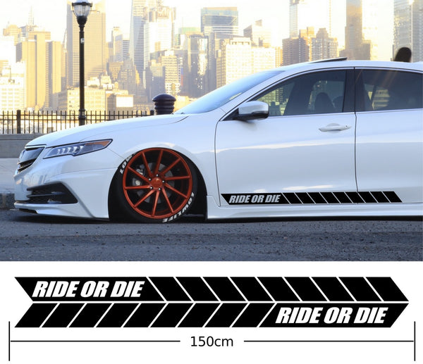 Ride Or Die Car Side Stripes Stickers Decals