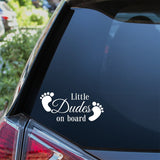 Little Dudes On Board Baby Feet Car Sticker