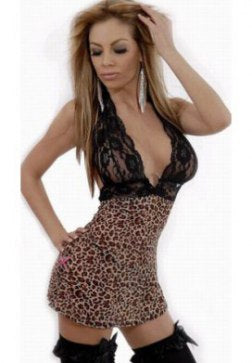 Erotic Leopard Print Chemises with Lace Embroidered Deep-V Top