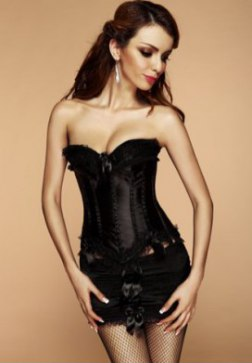 Plus Sized Satin Ruffle Corset Dress with Ribbon Details