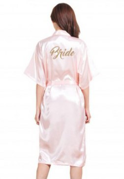 Women's Satin Kimono Robes For Bride Bridesmaid With Gold Glitter Wedding Party Bridal Shower
