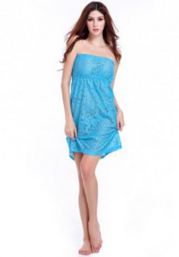 Strapless Beach Dress Hollow out Bandeau Cover Up