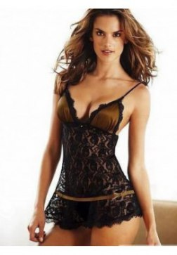 Elegant Satin Mesh Floral Embroidered Chemise