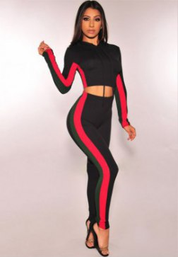 Women's Casual Sport Bodycon Crop Top Long Skinny Pant Set