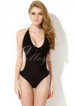 Sexy Black One-piece Swimwear with Fringe and Side Cut-outs in Low Price