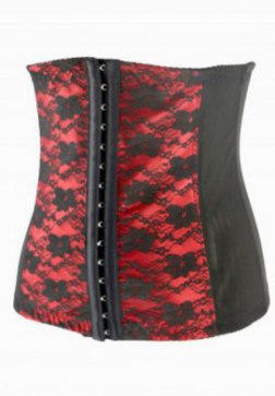 Red Floral Embroidered Steel Boned Underbust Corset