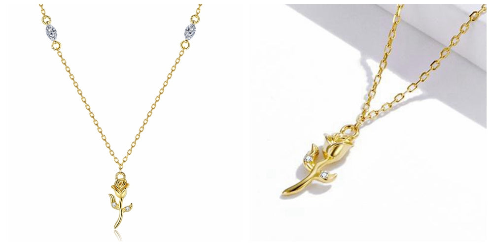 14K Gold Vermeil Rose Jewelry Necklaces