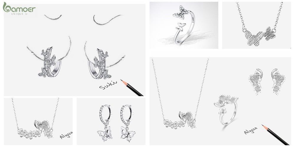 Bamoer Butterfly Jewelry Series  Butterfly Earrings, Necklaces, Bracelets and Rings Designers Sketches